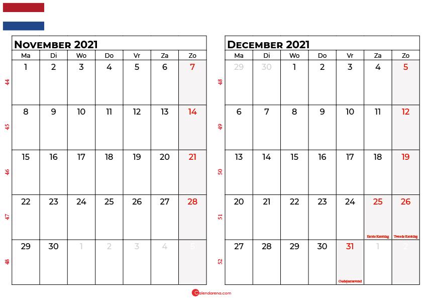 kalender november december 2021 nl in 2021 | August ...