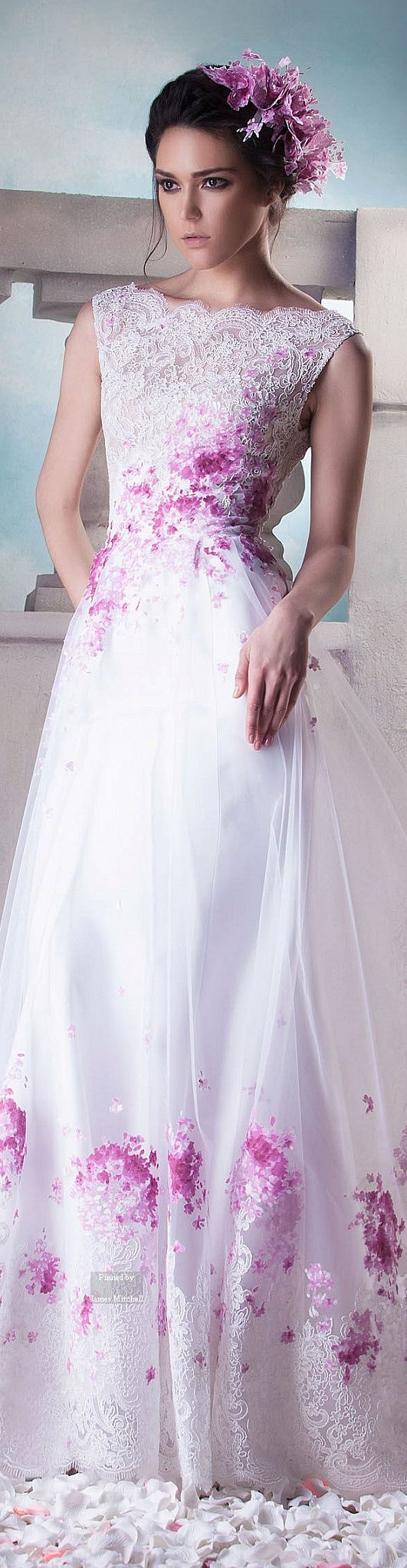 Hanna Touma ~ Couture Summer White Lace Gown w Floral Berry Details 2015