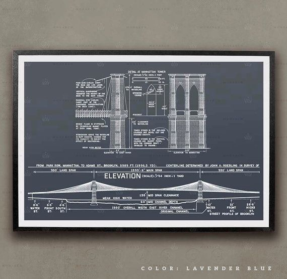 Brooklyn bridge blueprints new york city architecture unframed brooklyn bridge blueprints new york city architecture unframed rocking the shores of manhattan to malvernweather Image collections