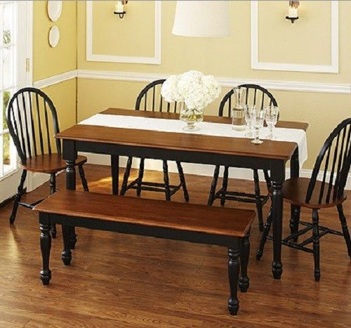 Best New 6 Piece Farmhouse Dining Set Table Bench 4 Windsor 640 x 480