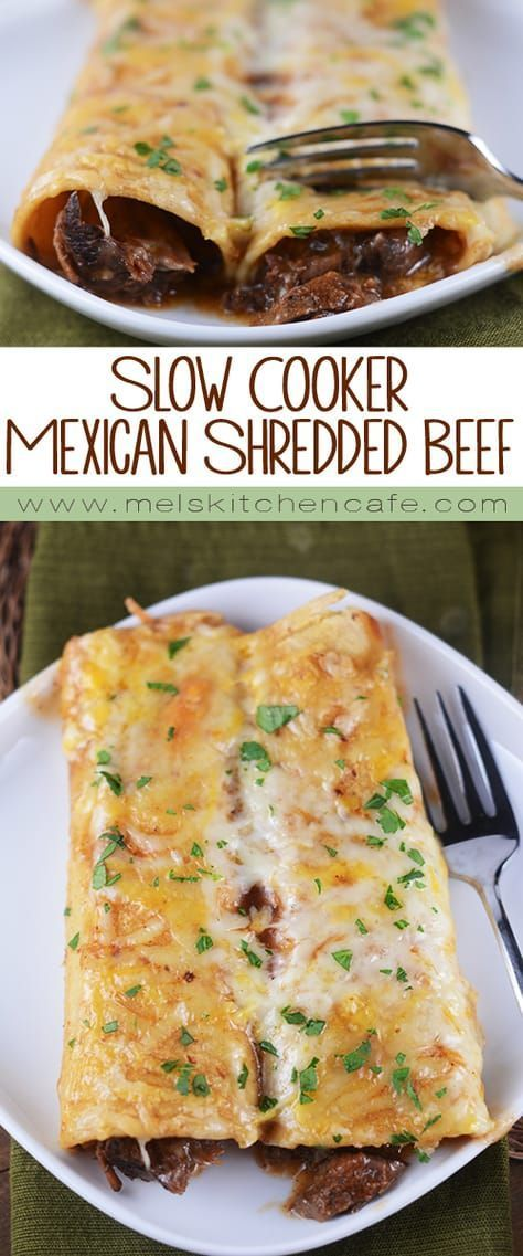 Tender Beef (For Enchiladas) This deliciously tender slow cooker Mexican shredded beef is so versatile and…This deliciously tender slow cooker Mexican shredded beef is so versatile and…