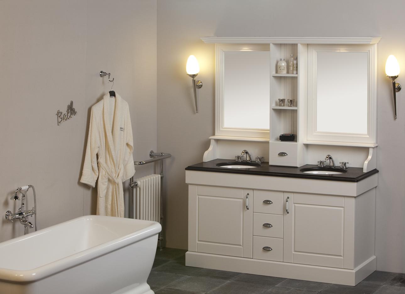 Klassiek badkamermeubel cm classic wit met opbouw spiegelkast