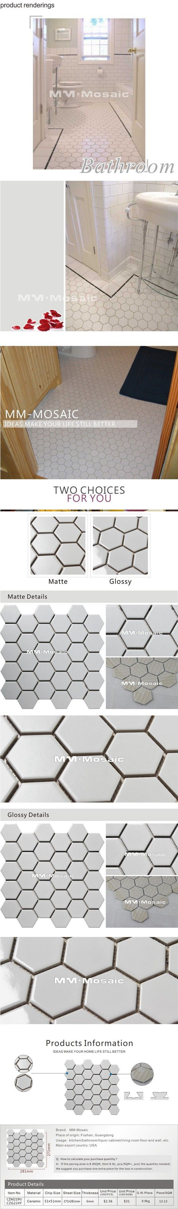 Non slip white color, hexagon floor tiles ceramic mosaic tile,matte ...