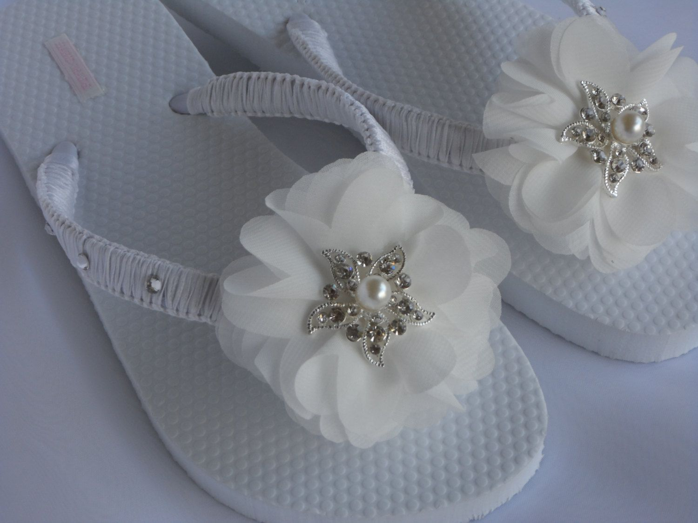 5de7a75b62b3a Beach Wedding Flip Flops Bridesmaid | White Beach Flip Flops ...