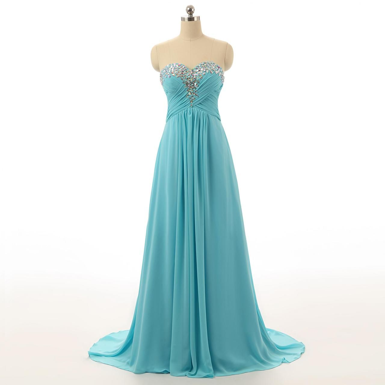 Charming Beading Chiffon Long Prom Dresses,Sweetheart Evening ...