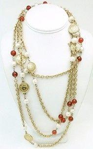 Long Vintage Signed Chanel Gripoix Glass & Faux Pearl Sautoir Necklace