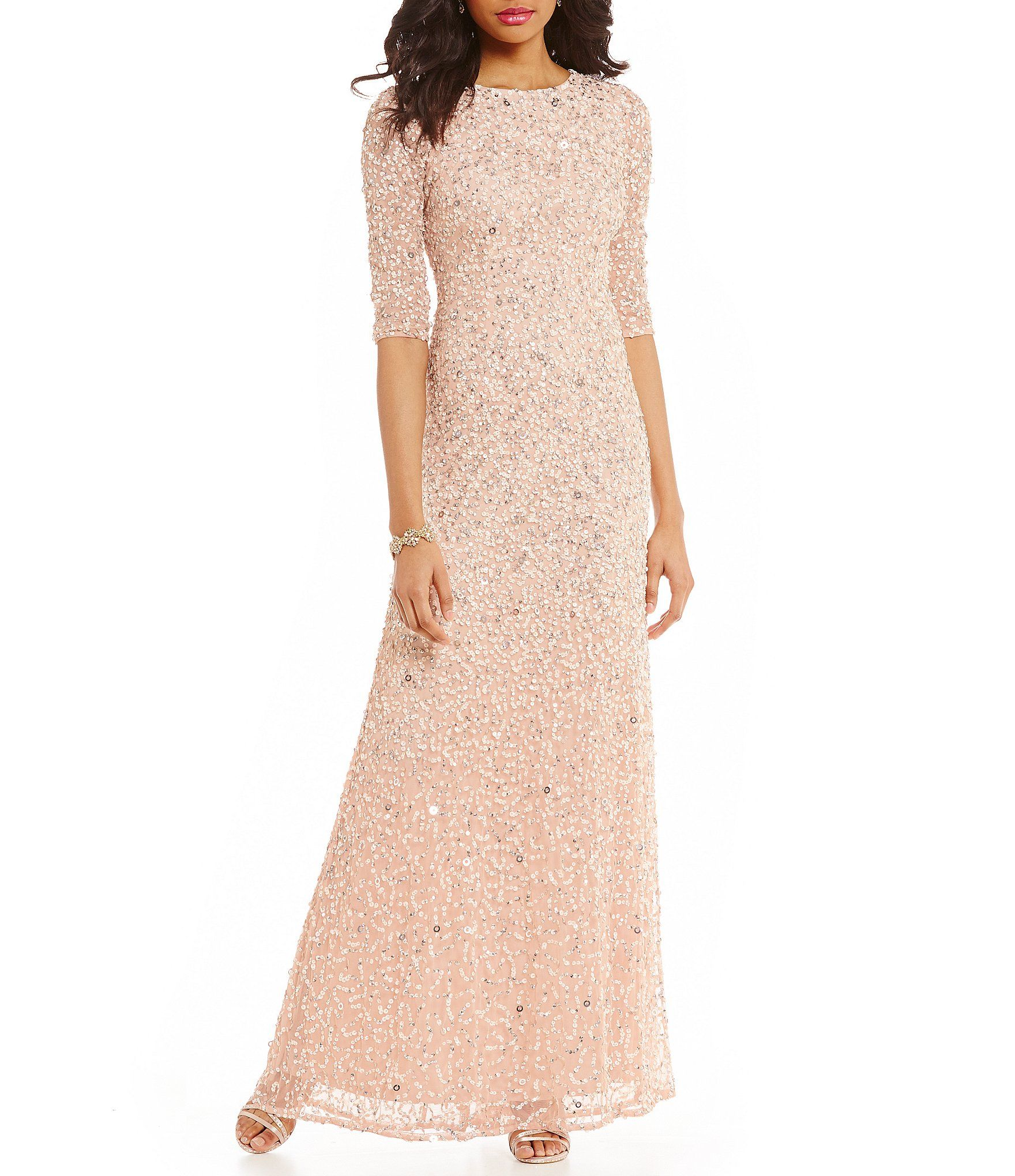 8e722aa52c1 Shop for Adrianna Papell 3 4 Sleeve Sequin Beaded Column Gown at Dillards.com.  Visit Dillards.com to find clothing