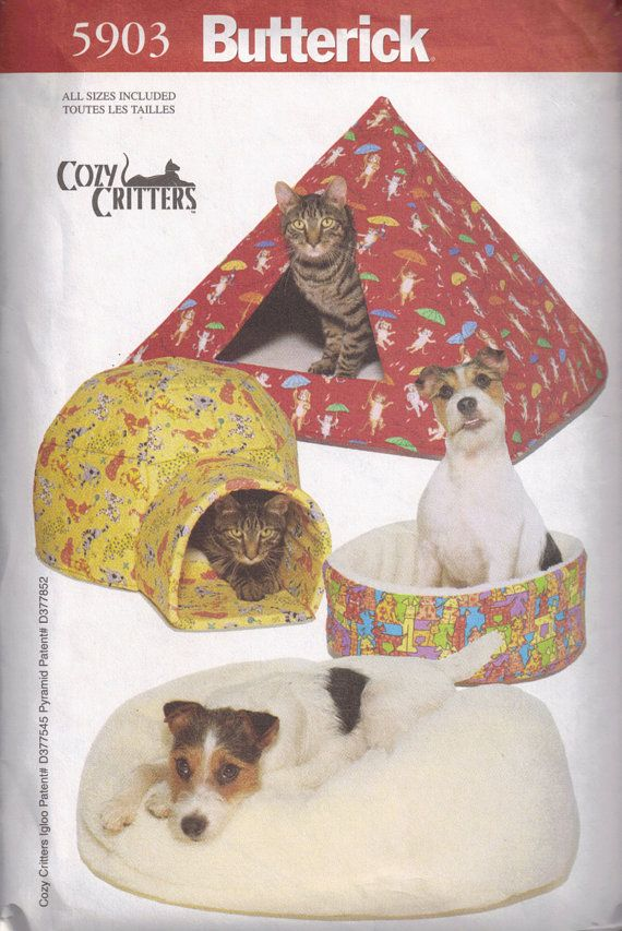 Pet Beds DIY Pyramid, Igloo House for Cats and Dogs Sewing Pattern ...