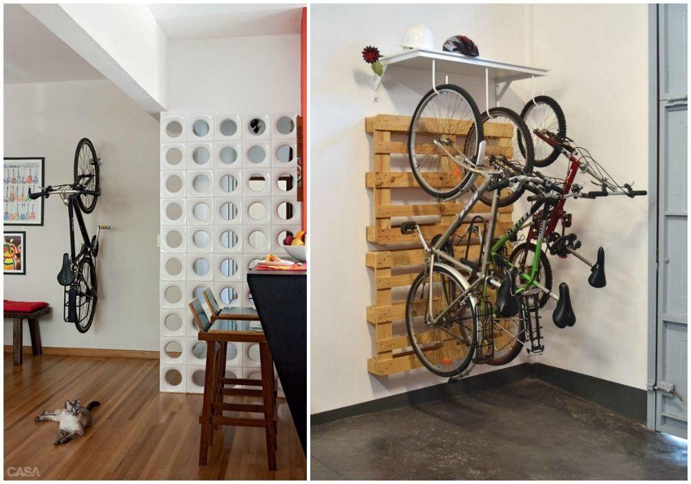 02 bicicleta dentro de casa colgada pared guardar la for Armario exterior para guardar bicicletas