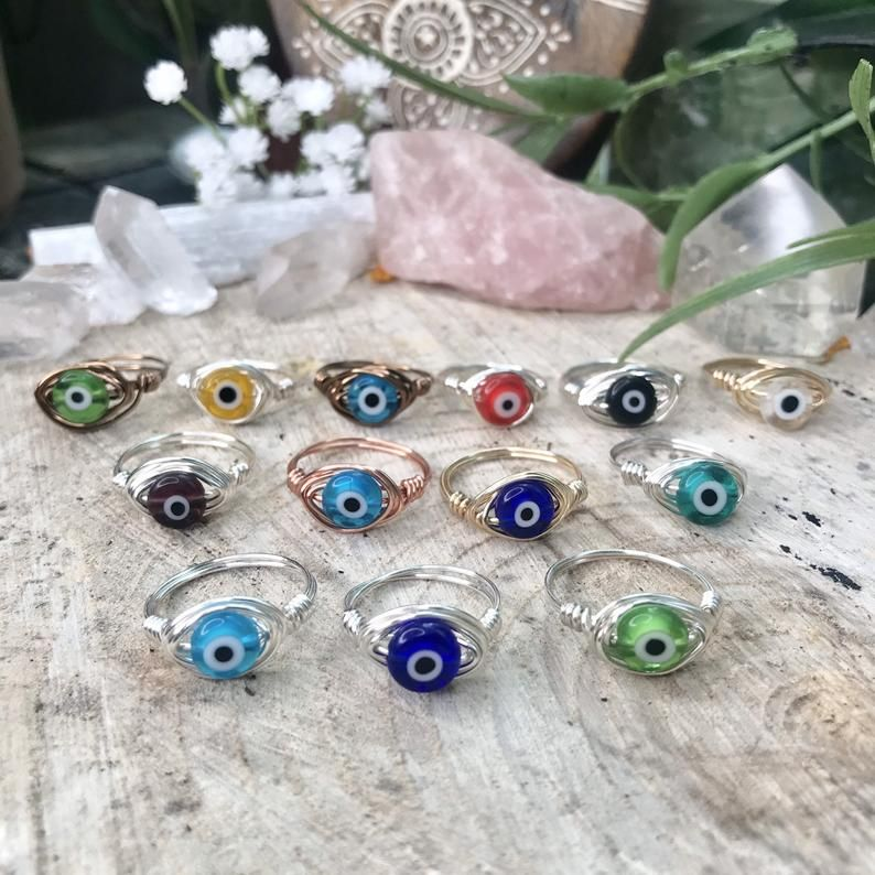 Evil Eye Ring, Crystal Jewelry, Wire Wrapped Ring,Hippie Rings, Statement Rings, Gemstone Rings, Wire Rings, Boho Rings, Gifts for her