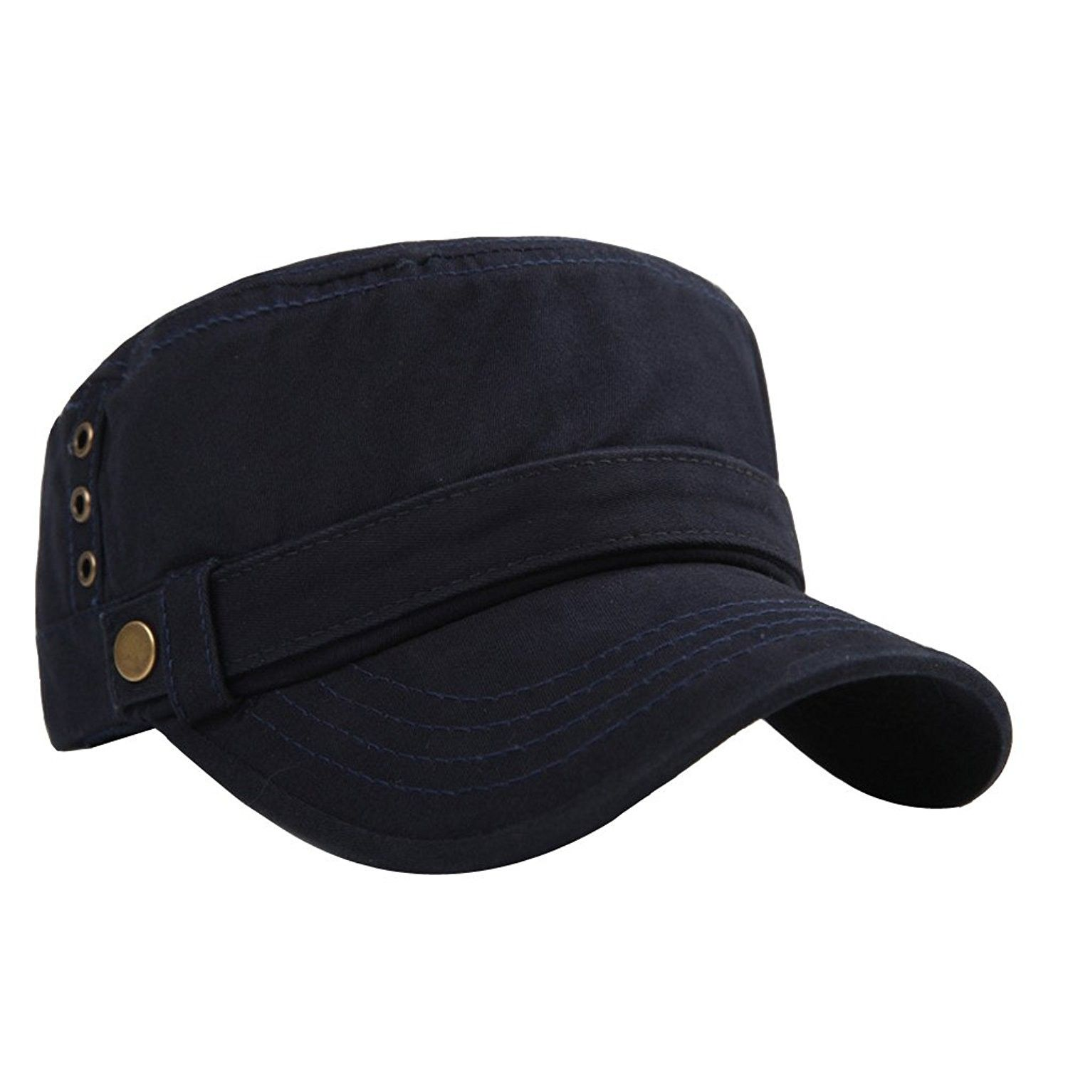 535f9770dc2 Men s Cotton Flat Top Peaked Baseball Twill Army Millitary Corps Hat Cap  Visor - Navy-