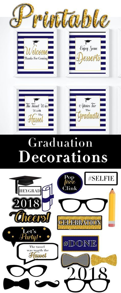 2018 Graduation Blue and Gold Photo Booth Props Graduation