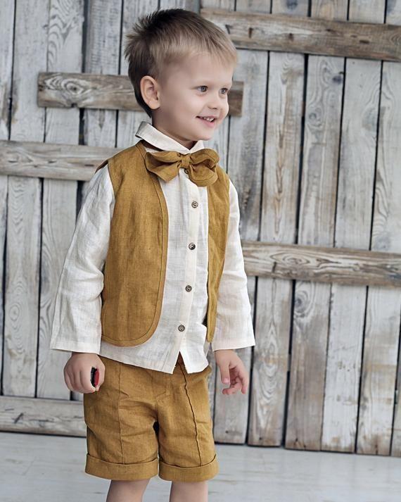 Linen boys vest, Linen boys outfit, Boys vest suit, Formal boys outfit, Boy vest suit, Linen boys ve