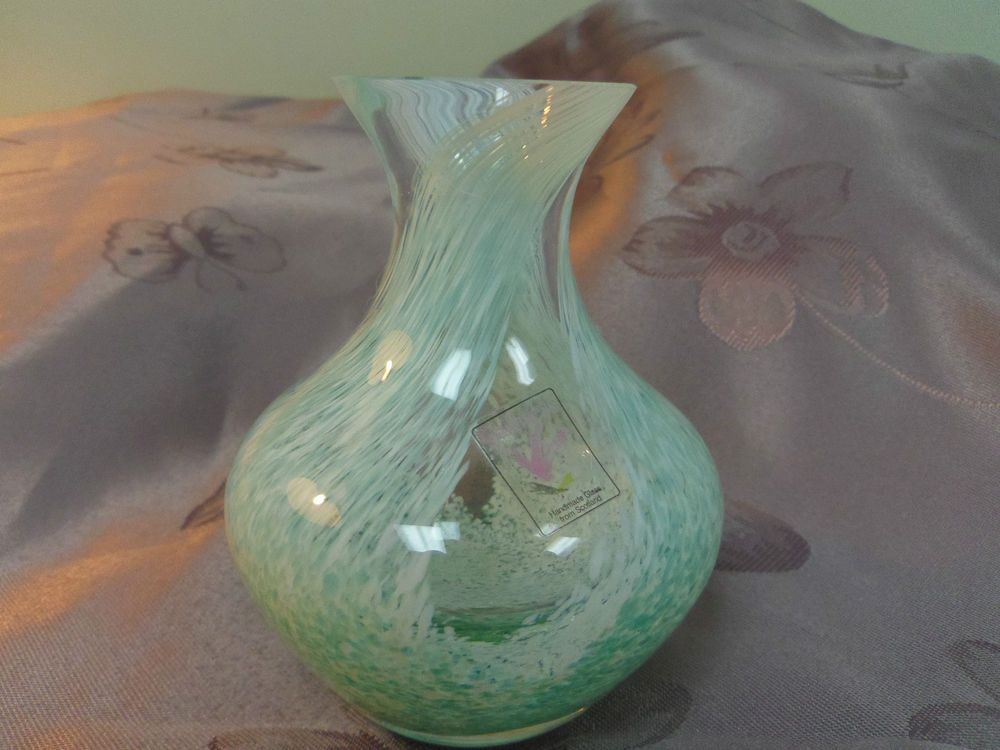 Caithness Glass Vase Green And White Swirl Made In Scotland 4 Tall
