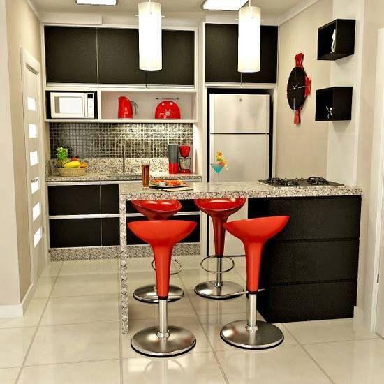 Cozinha Americana Preta E Vermelha. Kitchen DesignKitchen DecorSmall Kitchen  InteriorsSmall ...