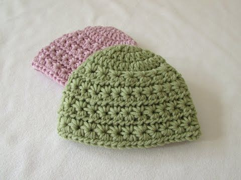 e6d24e0d8 How to crochet a chunky star stitch baby hat | Baby Crochet Cap With ...