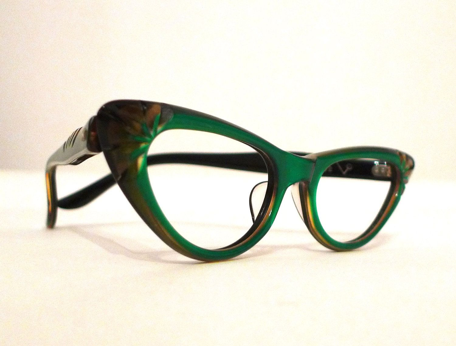 0d03010255 Emerald Green and Honey Dipped Carved Horn Rimmed Cat Eye Frames ...