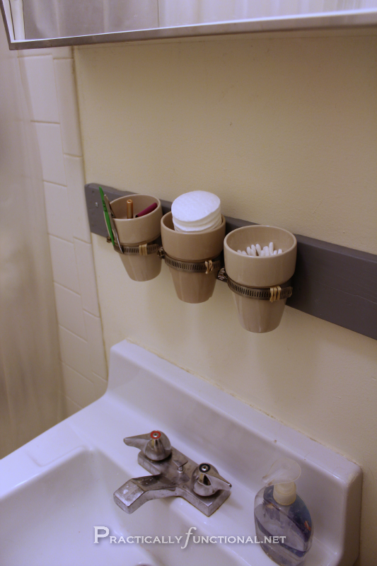 Awesome Small Bathroom Storage Idea Mount Mason Jars Cups Or Tiny Flower Pots To The Wall Toiletries