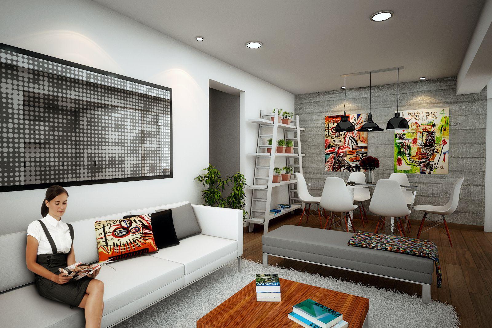 Dise o interior para la sala comedor del departamento for Diseno de interiores sala de estar comedor