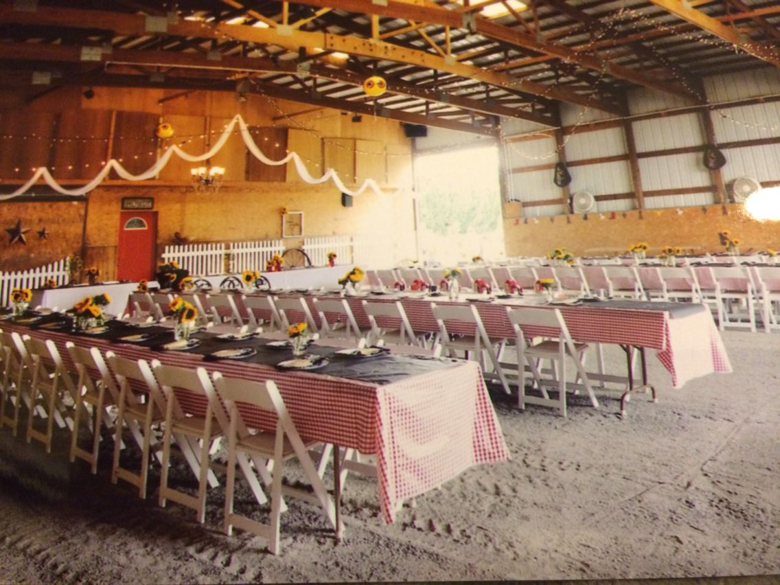 Rustic Wedding Reception In An Indoor Riding Arena Oh Happy Day