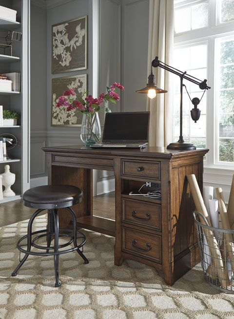 woodboro lifttop desk from ashley furniture in a rustic finish