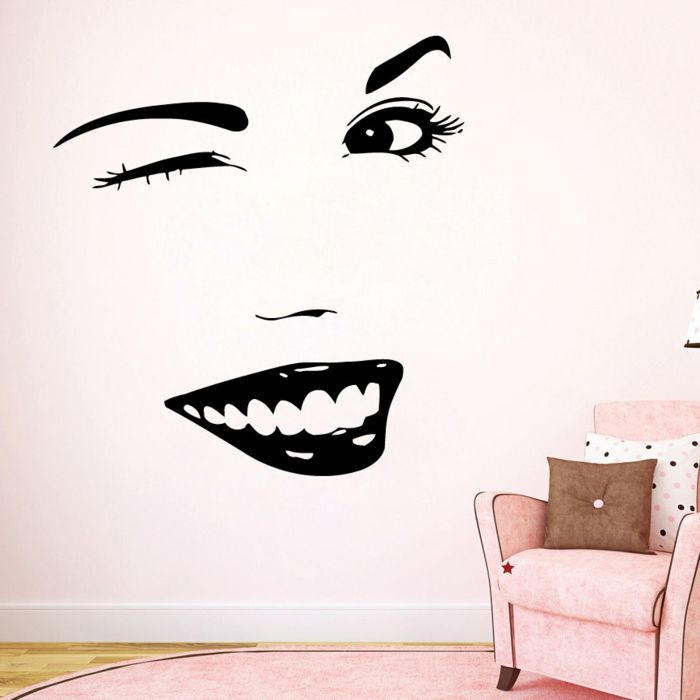 stickers muraux en forme de visage femme pochoir mural visage femme dessin pinterest. Black Bedroom Furniture Sets. Home Design Ideas