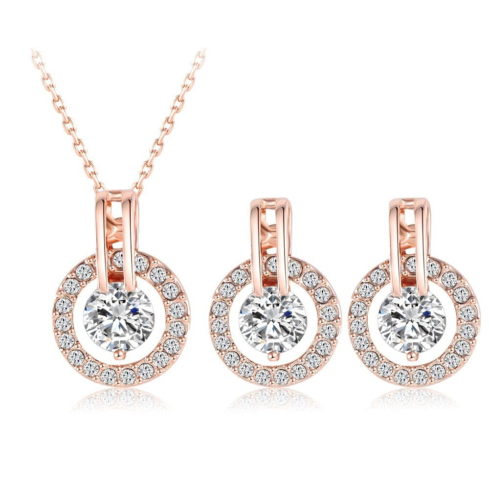 Gold plated bridal jewelry set with zircon crystals necklace and
