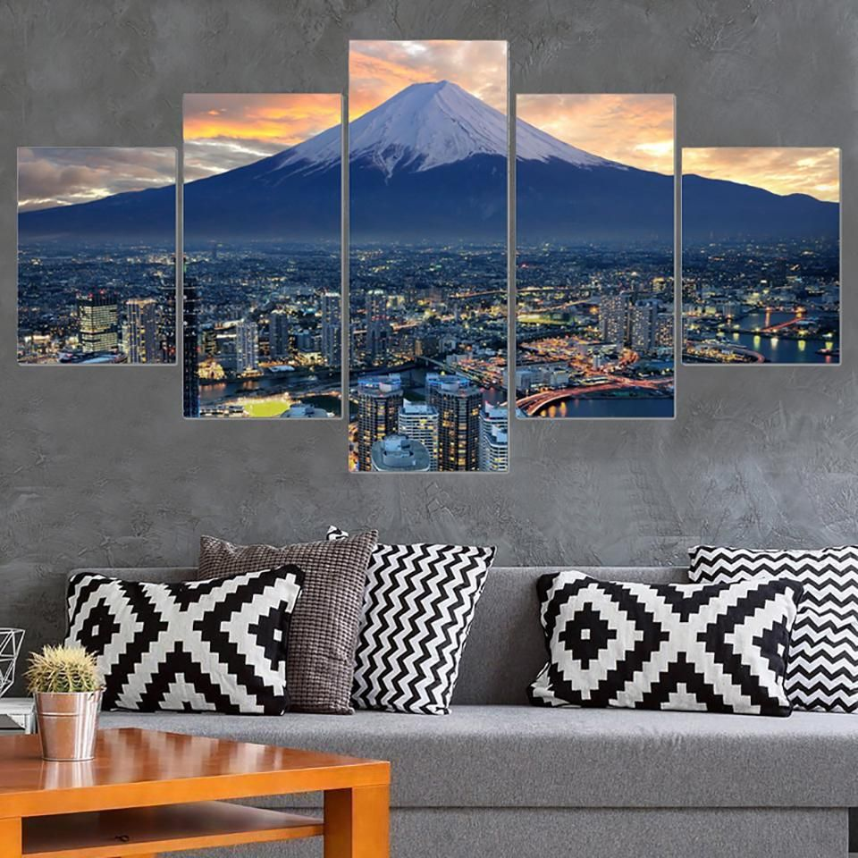 Frame Living Room Home Decoration Wall Art Posters 5 Panel Japan City Landscape Modern Painting On Canvas Hd Printed Pictures City Landscape Japan Landscape Print Pictures #paintings #with #frame #for #living #room