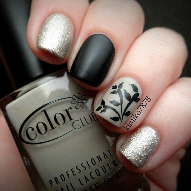 Skittle mani: Matte black, silver-gold shimmer and grey taupe with ...