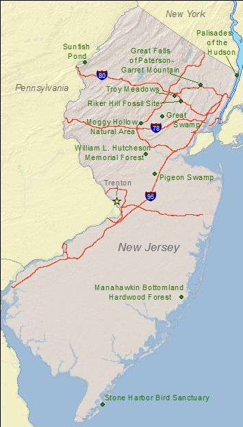 New Jersey state map of National Natural Landmark Sites... | NJ ...