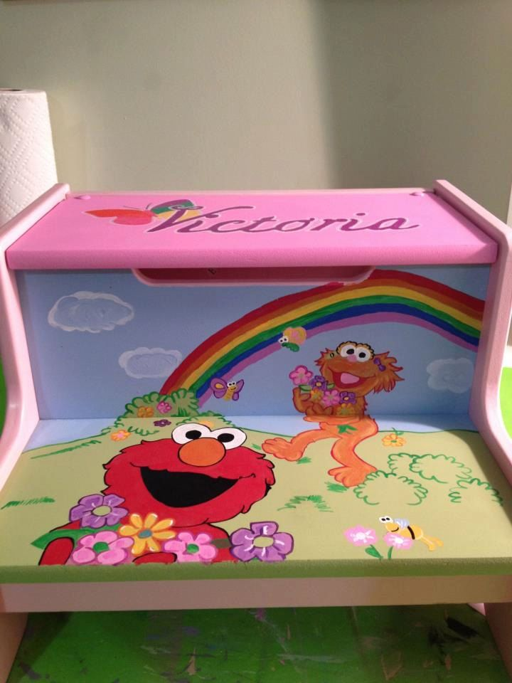 Elmo And Zoe Hand Painted Step Stool. Personalized. $65.00, Via Etsy. |  Little Miracles,Big Steps | Pinterest | Painted Steps, Elmo And Stools