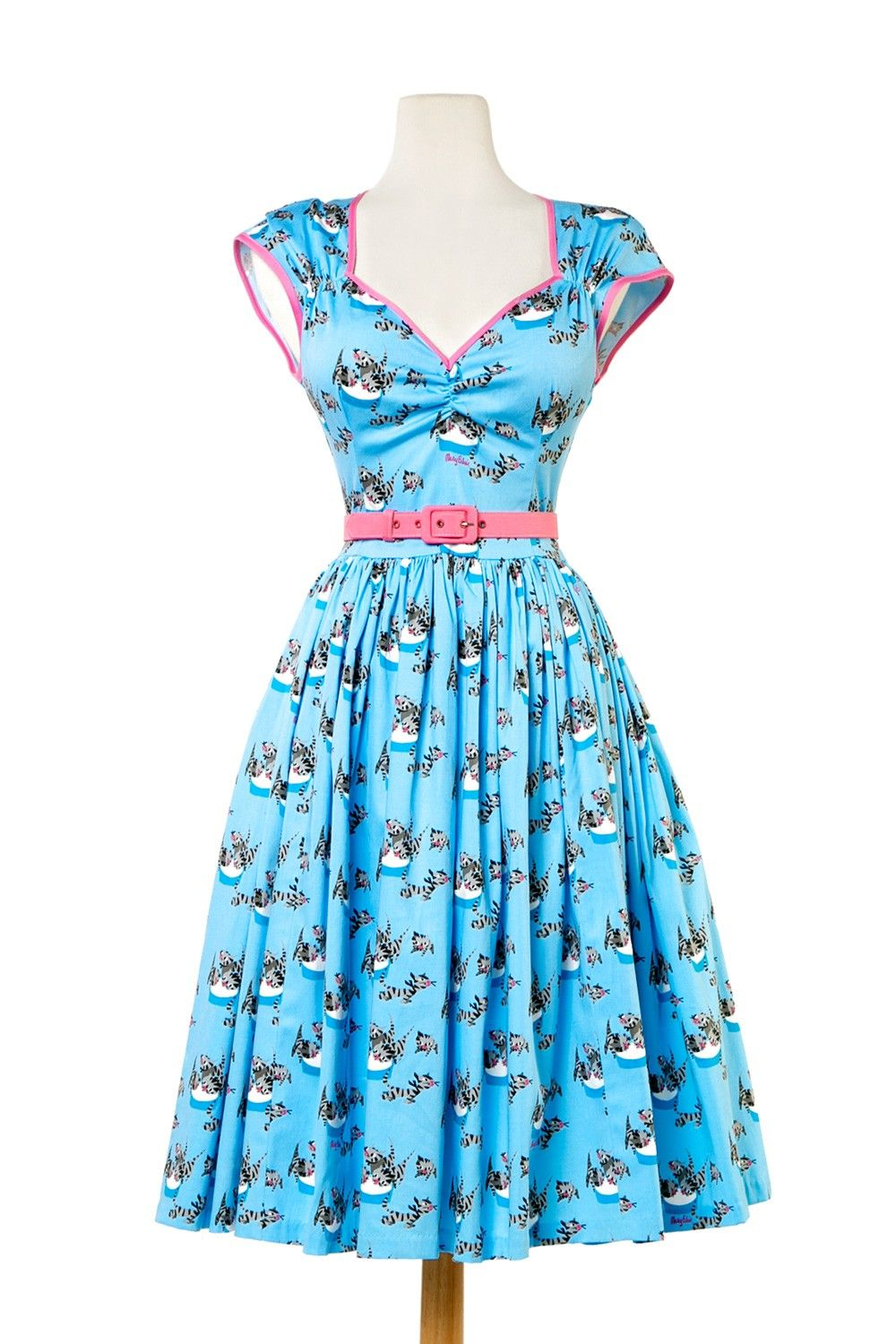 9b65d4c276bdc Pinup Couture Heidi 1950's Inspired Dress in Mary Blair Gray Cats Print | Pinup  Girl Clothing