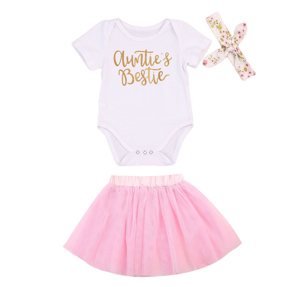 UK Baby Girl Clothes Auntie Bestie Gifts Tops+Mesh Skirts Dress Headband Outfits