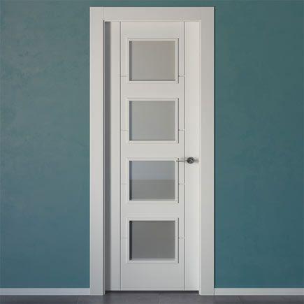 Puertas lacadas en blanco baratas modelo hungria vidriera - Puertas interior blancas baratas ...