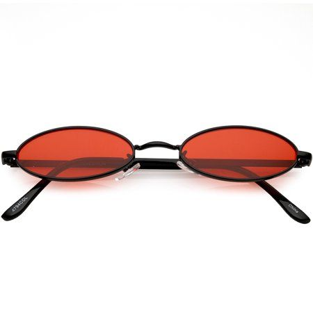 4c84d1bdc3 Extreme Small Oval Sunglasses Color Tinted Flat Lens 51mm (Black   Red)