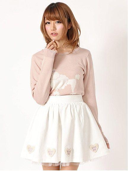 裾ハートボアロゴギャザースカート