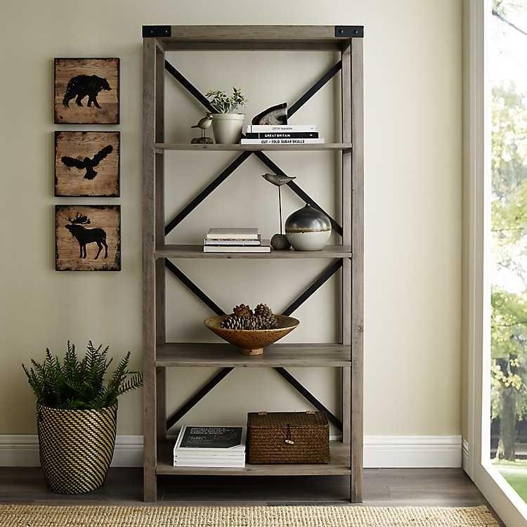 Gray Wash Metal X Frame Back Bookshelf In 2020 Wood Bookshelves