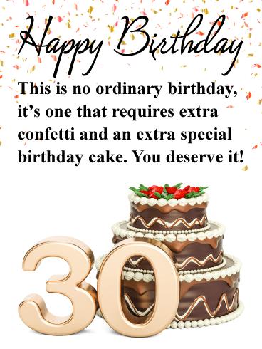 Fancy Cake Happy 30th Birthday Card Birthday Greeting Cards By Davia Happy Birthday Fun Happy 30th Birthday 30th Birthday Cards