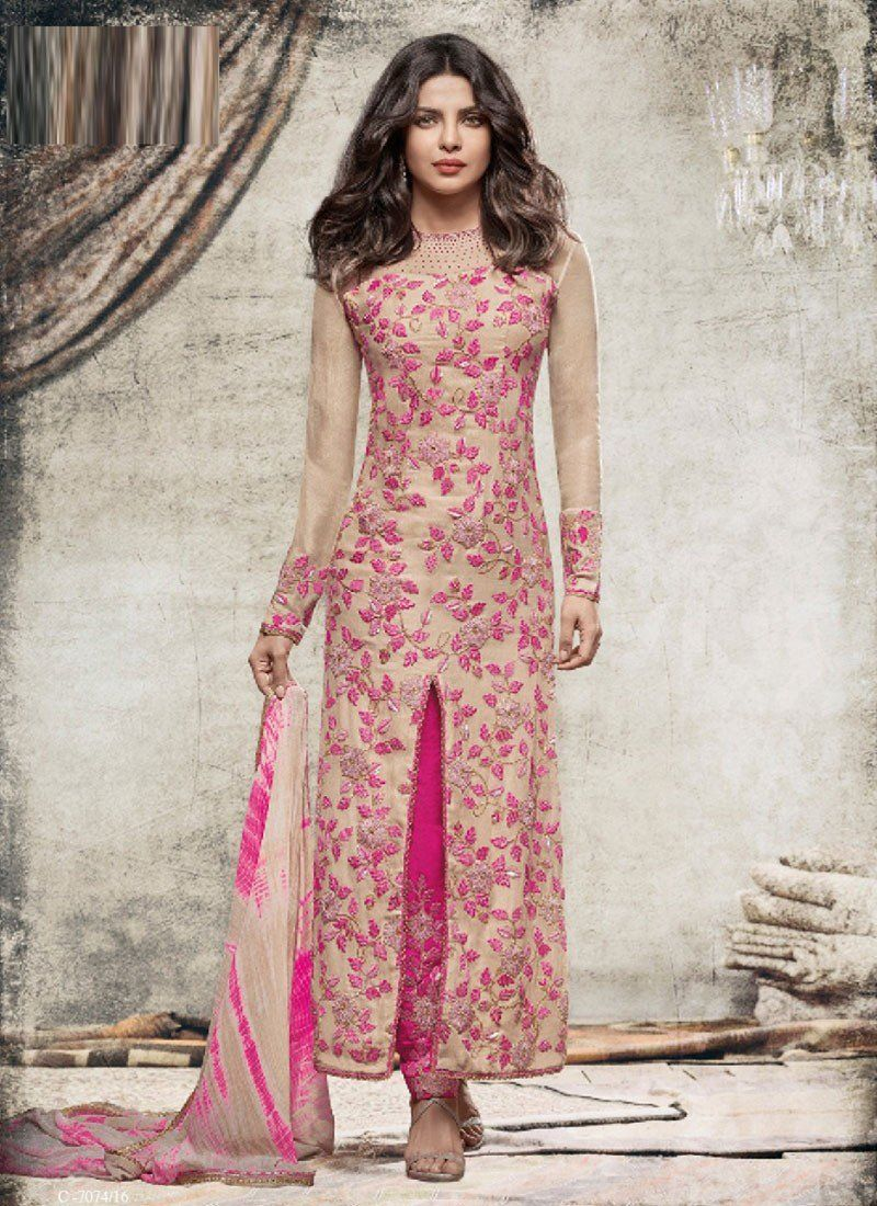 7b41ce8816 Grey Pink Georgette Straight Cut Suits #salwar Kameez #wedding salwar suit  #party #wear