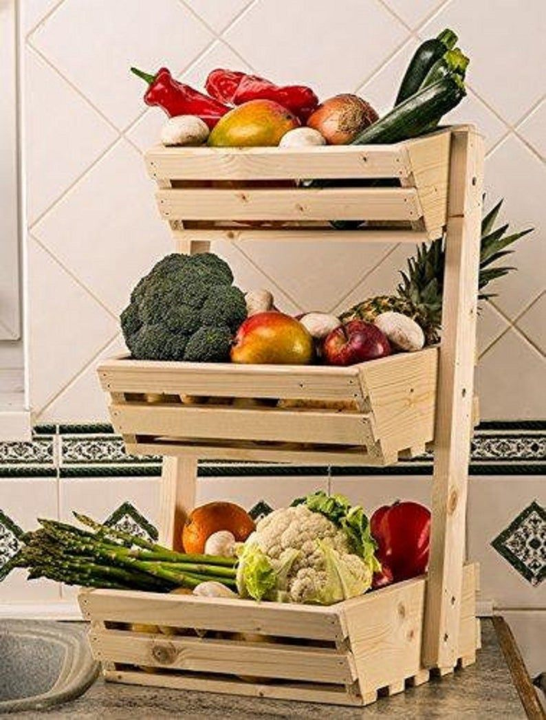 The Beautiful Convenient Crate Kitchen Organizer Wooden Etsy In 2020 Fruit Storage Fruit And Vegetable Storage Vegetable Rack