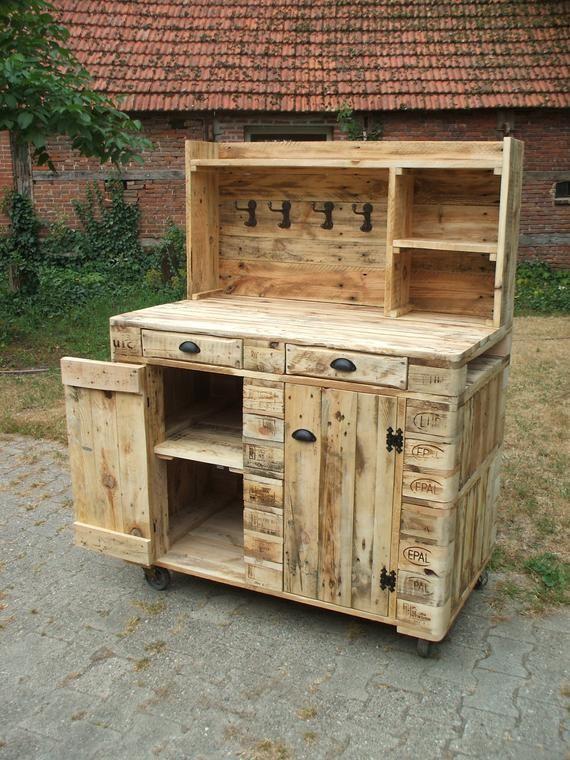 Pflanztisch Kommode Buffet Schrank Aus Paletten Etsy In 2020 Diy Pallet Furniture Pallet Furniture Plant Table