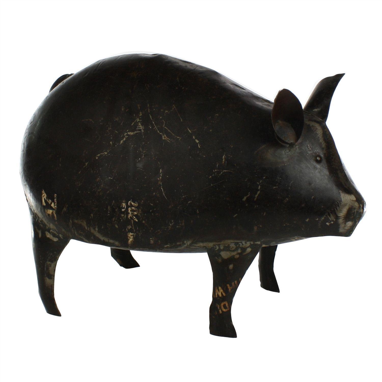 Pig Sculpture in Reclaimed Metal