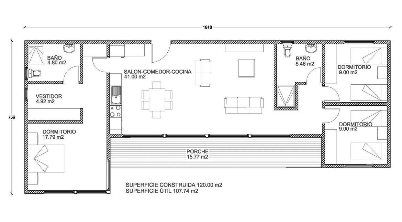 Modelo OPTIMA 100 m2 muestra de casa Pinterest House, Tiny - maison de 100m2 plan