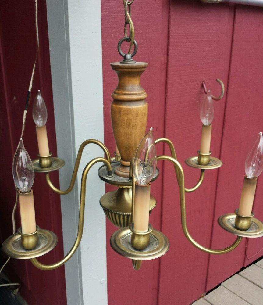 Vintage Rustic Chandelier By Underwriters Laboratories Inc Wood Metal 6 Light