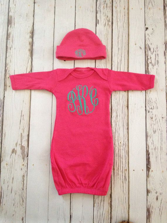 Monogrammed baby gown and beanie boy or girl pink newborn monogrammed baby gown and beanie boy or girl pink newborn baby gift negle Gallery