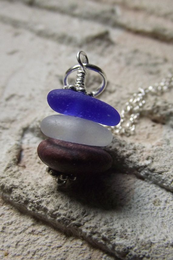 Photo of Stars and Stripes – Sea Glass and Beach Stone Jewelry – Stacked Cairn Necklace