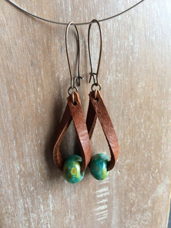Photo of Ships free! Boho Leather earrings – Distressed leather drop earrings – fashion jewelry – boho earrings- rustic jewelry – dangle – popular