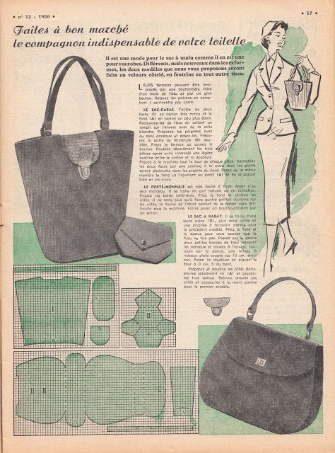 Free Vintage Purse Patterns From 1956 Vintage Sewing Pinterest