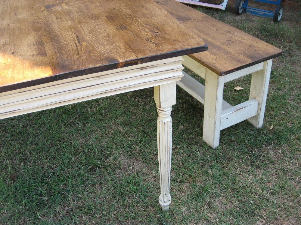 This Is How I Will Finish The Table And Bench. Top Stained Brown With White