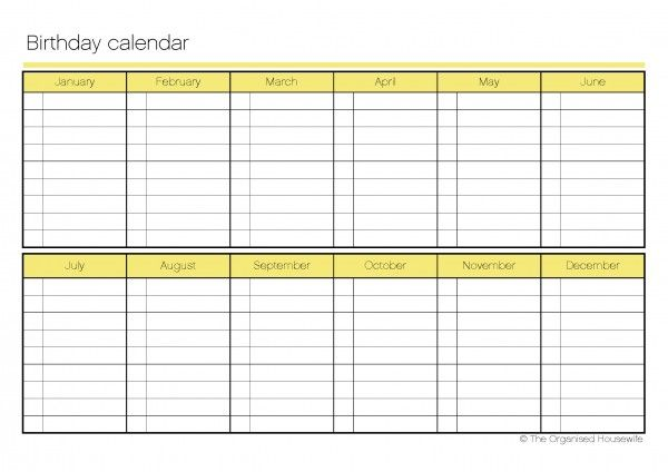 Birthday Calendar Template Template Printable Birthday Calendar